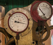 Old steam train gauges — Stockfoto