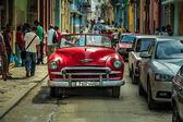Beautiful  vintage retro car on old street of Havana town, Cuba — Stock Photo