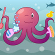 Octopus with shampoo and fetlock — Stock Vector #25197739