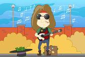 Musician plays a guitar — Stock Vector