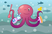 Octopus with shampoo and a fetlock — Stock Vector