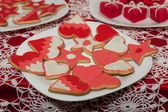Sweet table on Valentine's Day — Stock Photo