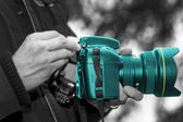 Turquoise Camera 001 — Stock Photo