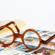 Old glasses in a turtle frame — Stock Photo