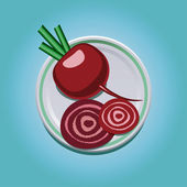 Beet on a plate — Stock Vector