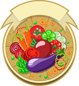Vegetables sticker with ribbon — Stock Vector