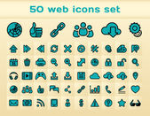 50 blue web icons set — Stock Vector
