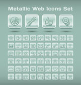 Metallic web icons set — Stock Vector