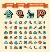 Outline Grunge Web Icons Set — Stock Vector