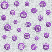 Social Networking Flat Outline Purple Pattern — Stock Vector