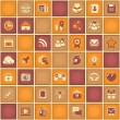 Square Pattern of Social Networking in Purple Orange Colors — Stock Vector
