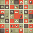 Square Pattern of Social Networking in Red Gray Colors — Stock Vector