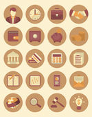Financial and Business Icons Brown Set — Stock Vector