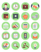 绿色的财务和业务图标集 — 图库矢量图片