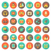 Social Networking Flat Round Icons with Long Shadows — Stock Vector