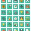 Flat Education and Leisure Icons Set — Stock Vector