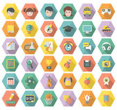 Modern Flat Education and Leisure Icons in Hexagons — Stock Vector