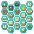 Modern Flat Financial and Business Icons in Hexagons — Stock Vector #34346455