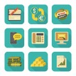 Modern Flat Financial Icons Set — Stock Vector
