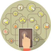 Social Networking by Tablet — Stockvektor