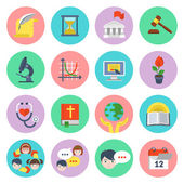 Flat School Icons Set — Stock Vector