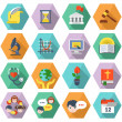 Modern Flat Education Icons in Hexagons — Stock Vector