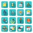 Square School Icons Set — Stock Vector