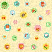 Circular Love Pattern — Stock Vector