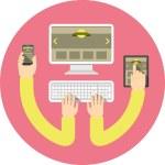 Responsive Web Design Round Pink Concept — Stock Vector