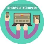 Responsive Web Design Round Turquoise Concept — Stock Vector