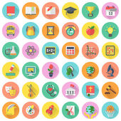 Flat school subjects icons in circles with long shadows — Stock Vector