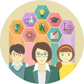 Woman Teacher and Pupils with Education Icons — Stock Vector