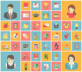 Flat Square School Icons — Stock Vector