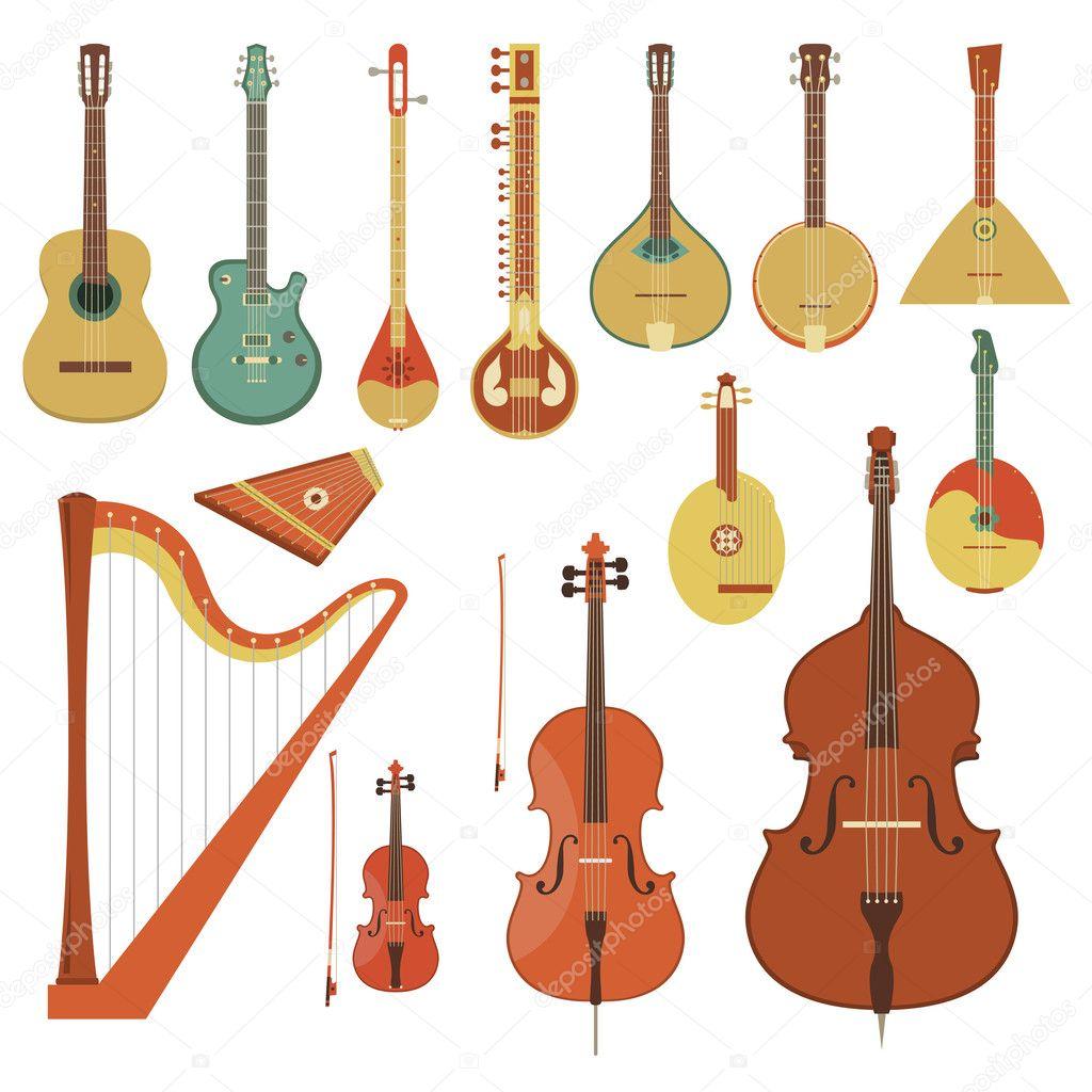 Instrumentos musicales de cuerda — Vector de stock © vectorikart ...
