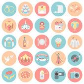 Wedding Organization Round Icons — Stock Vector