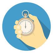 Stopwatch in hand — Stock Vector