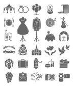 Wedding Icons Dark Silhouettes — Stock Vector