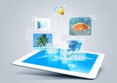 Tablet tecnology background — Stock Photo
