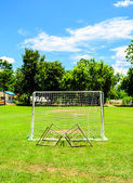 Mini Football goal in College — Stockfoto