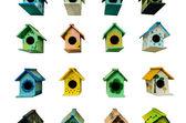 Muitos gaiola de pássaro com isolado — Foto Stock