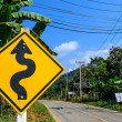 Right Winding Road Traffic Sign — Stock Photo
