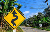 Right Winding Road Traffic Sign — 图库照片