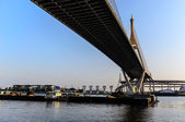 Cargo Boat under Bhumibol Bridge — Stock Photo