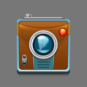 Vector illustration of  camera icon isolated on grey background — Stock Vector