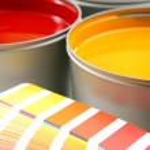 Printing press inks, cyan, magenta, yellow — Stock Photo