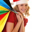 Girl with christmas shopping bags — Stock Photo