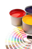 Printing press inks, cyan, magenta, yellow — Stock Photo