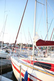 Marina view, sailboats and motorboats — Stock Photo