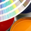 Stock Photo: Printing press inks, cyan, magenta, yellow