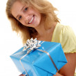 Woman with a giftbox — Stock Photo